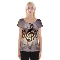 Music, Wonderful Clef With Floral Elements Women s Cap Sleeve Top