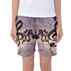 Music, Wonderful Clef With Floral Elements Women s Basketball Shorts