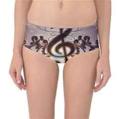 Music, Wonderful Clef With Floral Elements Mid-Waist Bikini Bottoms