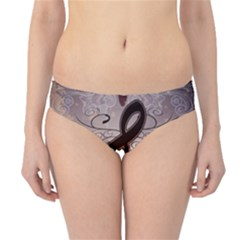 Music, Wonderful Clef With Floral Elements Hipster Bikini Bottoms