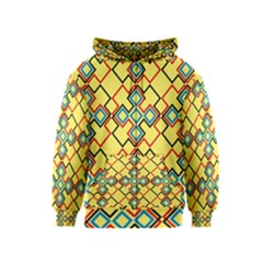 Shapes on a yellow background Kids Zipper Hoodie