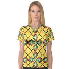 Shapes On A Yellow Background Women s V Neck Sport Mesh Tee