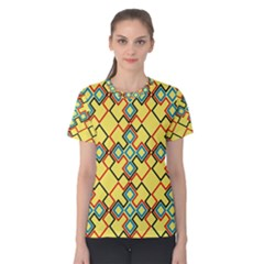 Shapes on a yellow background Women s Cotton Tee