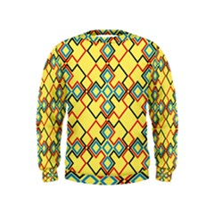 Shapes on a yellow background  Kid s Sweatshirt