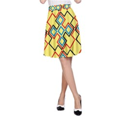 Shapes on a yellow background A-line Skirt