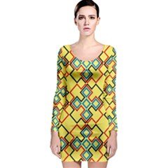 Shapes On A Yellow Background Long Sleeve Bodycon Dress