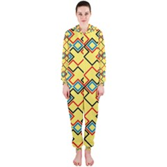 Shapes on a yellow background Hooded OnePiece Jumpsuit