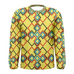 Shapes on a yellow background Men Long Sleeve T-shirt