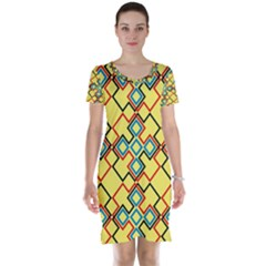 Shapes On A Yellow Background Short Sleeve Nightdress