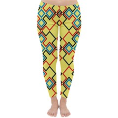 Shapes On A Yellow Background Winter Leggings