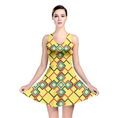 Shapes on a yellow background Reversible Skater Dress