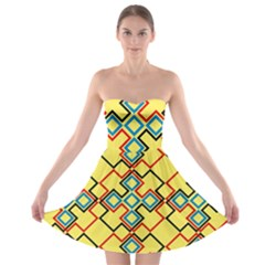 Shapes on a yellow background Strapless Bra Top Dress