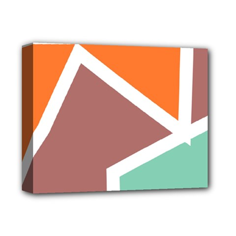 Misc shapes in retro colors Deluxe Canvas 14  x 11  (Stretched)