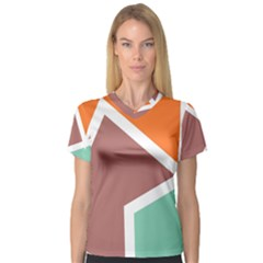 Misc shapes in retro colors Women s V-Neck Sport Mesh Tee