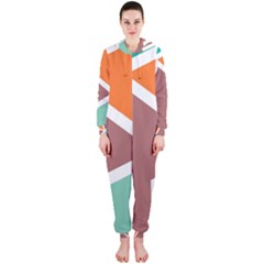 Misc shapes in retro colors Hooded OnePiece Jumpsuit