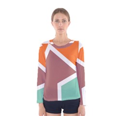 Misc Shapes In Retro Colors Women Long Sleeve T Shirt