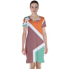 Misc Shapes In Retro Colors Short Sleeve Nightdress