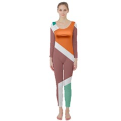 Misc shapes in retro colors  Long Sleeve Catsuit