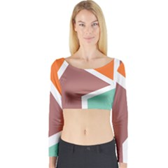 Misc shapes in retro colors Long Sleeve Crop Top