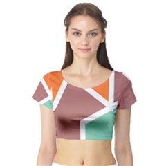 Misc Shapes In Retro Colors Short Sleeve Crop Top