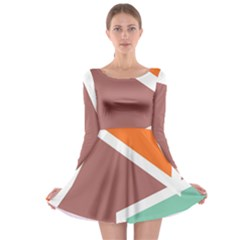 Misc shapes in retro colors Long Sleeve Skater Dress
