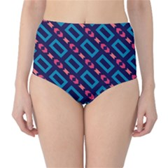 Rectangles and other shapes pattern High-Waist Bikini Bottoms