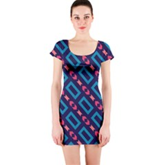 Rectangles and other shapes pattern Short sleeve Bodycon dress