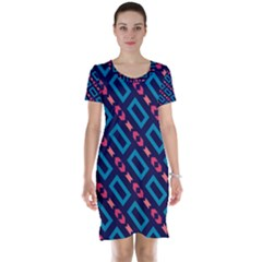 Rectangles And Other Shapes Pattern Short Sleeve Nightdress