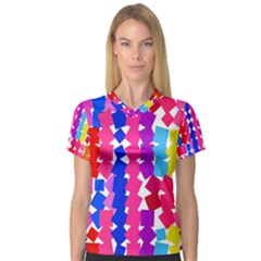 Colorful squares Women s V-Neck Sport Mesh Tee
