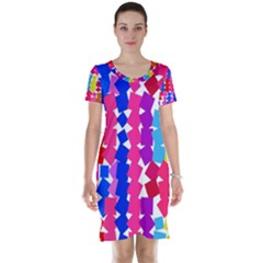 Colorful squares Short Sleeve Nightdress