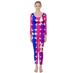 Colorful squares  Long Sleeve Catsuit