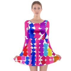 Colorful squares Long Sleeve Skater Dress