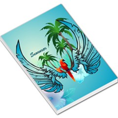 Summer Design With Cute Parrot And Palms Large Memo Pads