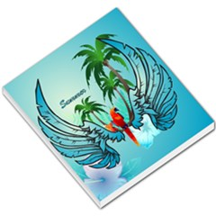 Summer Design With Cute Parrot And Palms Small Memo Pads