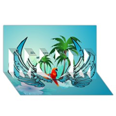 Summer Design With Cute Parrot And Palms MOM 3D Greeting Card (8x4)