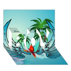 Summer Design With Cute Parrot And Palms BOY 3D Greeting Card (7x5)