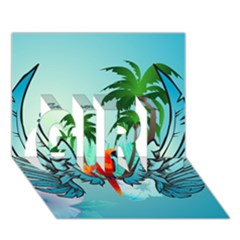 Summer Design With Cute Parrot And Palms Girl 3d Greeting Card (7x5)