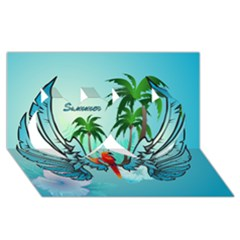 Summer Design With Cute Parrot And Palms Twin Hearts 3D Greeting Card (8x4)