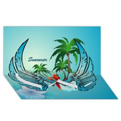 Summer Design With Cute Parrot And Palms Twin Heart Bottom 3d Greeting Card (8x4)