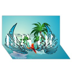 Summer Design With Cute Parrot And Palms BEST SIS 3D Greeting Card (8x4)