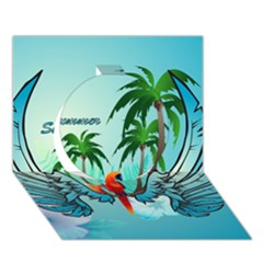 Summer Design With Cute Parrot And Palms Circle 3D Greeting Card (7x5)