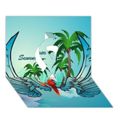 Summer Design With Cute Parrot And Palms Ribbon 3d Greeting Card (7x5)
