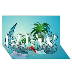 Summer Design With Cute Parrot And Palms Party 3d Greeting Card (8x4)