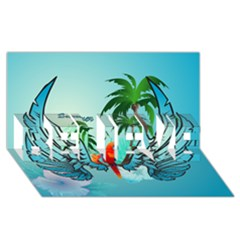 Summer Design With Cute Parrot And Palms Believe 3d Greeting Card (8x4)