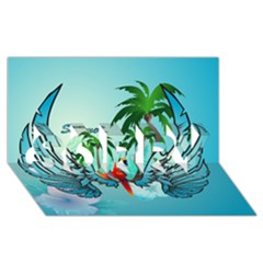 Summer Design With Cute Parrot And Palms SORRY 3D Greeting Card (8x4)