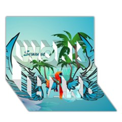Summer Design With Cute Parrot And Palms Work Hard 3d Greeting Card (7x5)