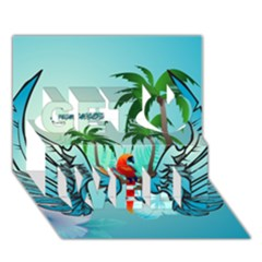 Summer Design With Cute Parrot And Palms Get Well 3d Greeting Card (7x5)