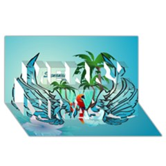 Summer Design With Cute Parrot And Palms Merry Xmas 3d Greeting Card (8x4)