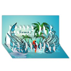 Summer Design With Cute Parrot And Palms Congrats Graduate 3D Greeting Card (8x4)