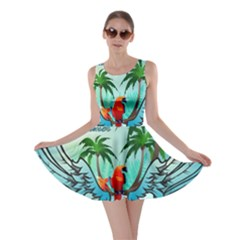 Summer Design With Cute Parrot And Palms Skater Dresses
